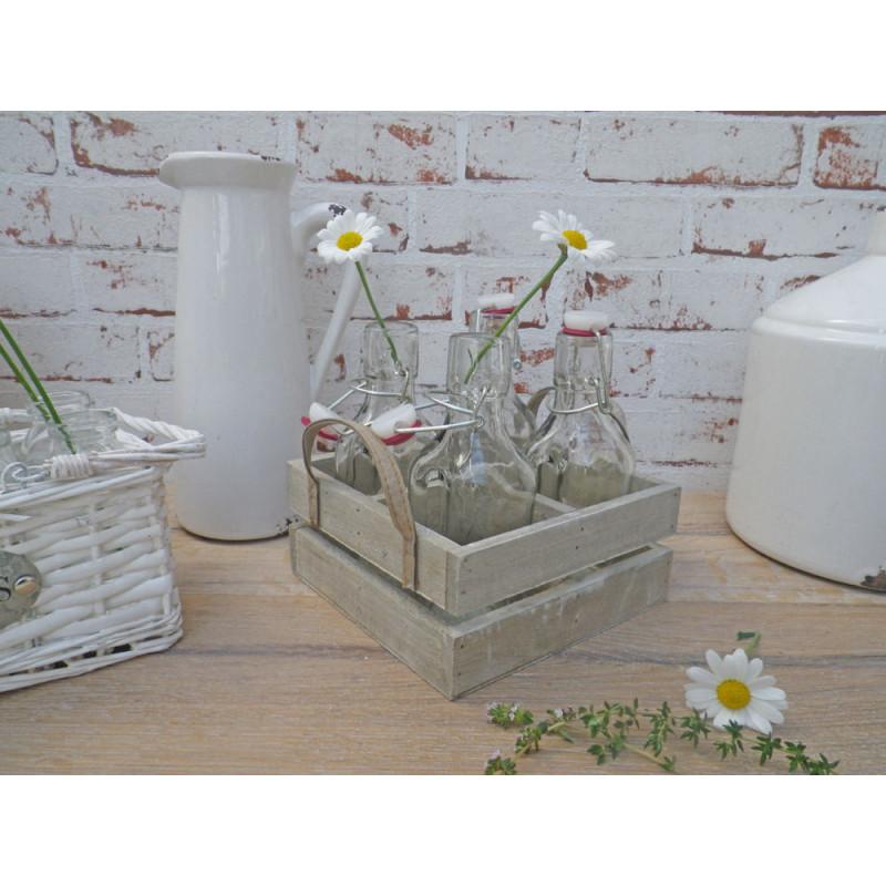flaschentr ger stockholm mit 4 b gel flaschen als vasen holz tablett holzkiste. Black Bedroom Furniture Sets. Home Design Ideas