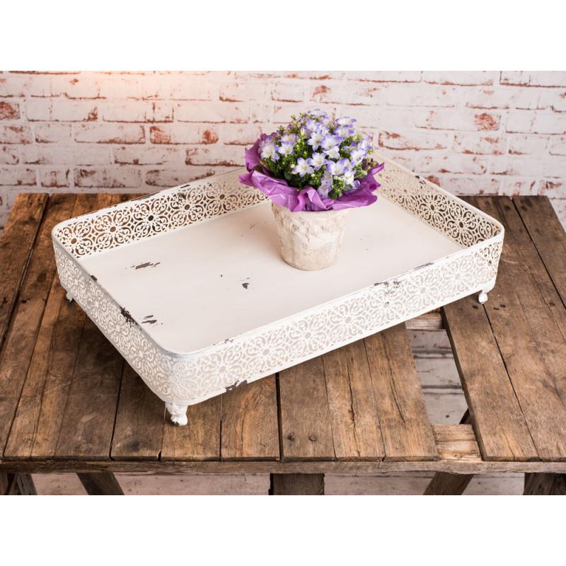 deko tablett renata 60 cm metall wei vintage antik stil shabby chic. Black Bedroom Furniture Sets. Home Design Ideas