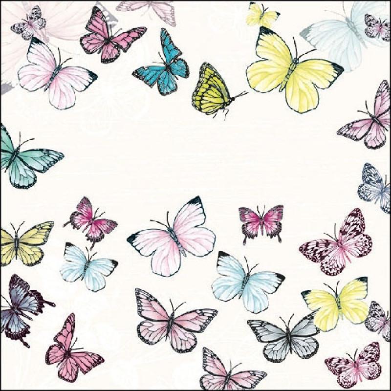 ambiente servietten butterfly white wei e serviette mit bunten schmetterlingen von ambiente. Black Bedroom Furniture Sets. Home Design Ideas