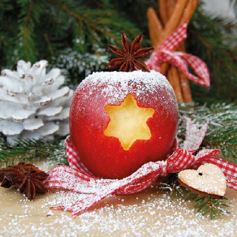 ambiente servietten apple apfel mit ausgestanztem stern und zimtstern weihnachten. Black Bedroom Furniture Sets. Home Design Ideas