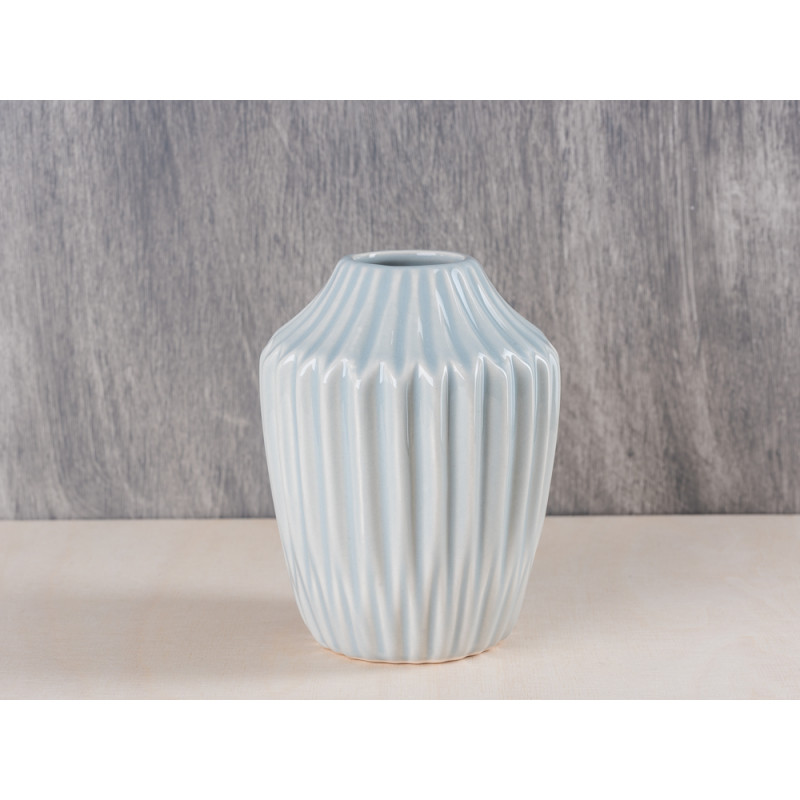 Bloomingville Vase Cool Grey Hellgrau Konisch Mit Rillen 13 Cm Hoch ...