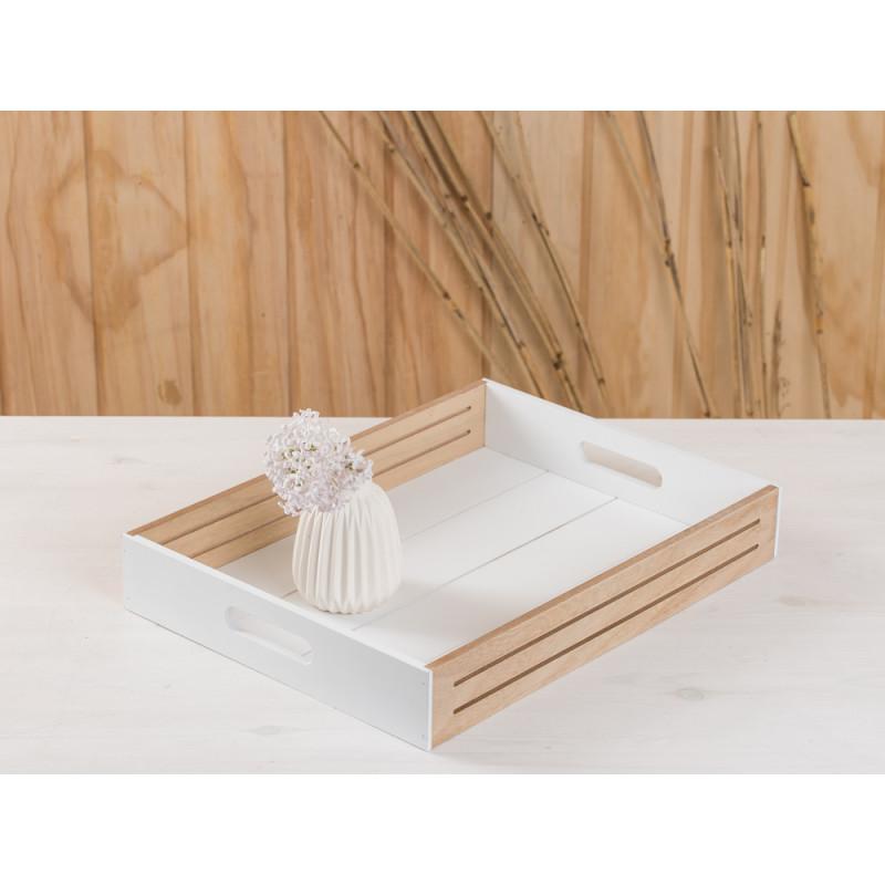 deko tablett scandinavia aus holz in weiss mit naturholz ca 30 x 40 cm skandinavische deko. Black Bedroom Furniture Sets. Home Design Ideas