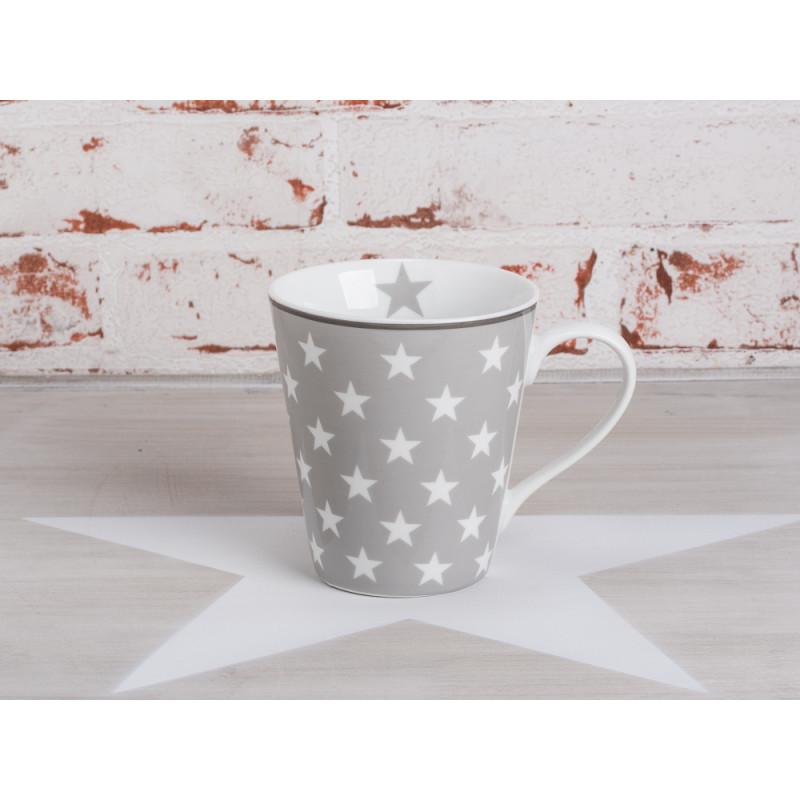 krasilnikoff happy mug henkel becher sterne hellgrau grauer becher mit henkel bedruckt mit. Black Bedroom Furniture Sets. Home Design Ideas