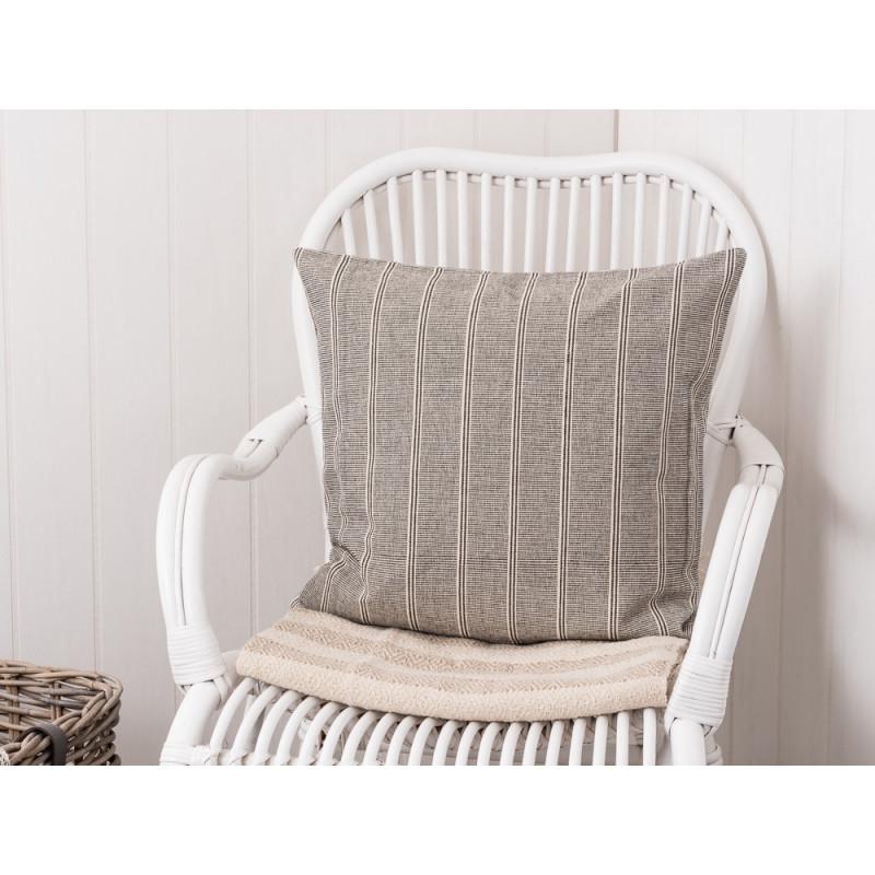 Kissenbezug grau/creme gestreift aus Baumwolle. Kissenhülle Größe 50 ...