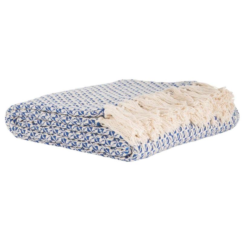 ib laursen plaid blau wei gemustert wolldecke aus baumwolle mit sch nem muster in blau wei. Black Bedroom Furniture Sets. Home Design Ideas