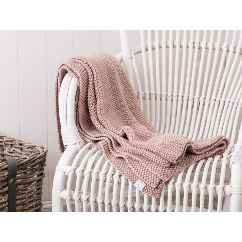 ib laursen plaid gestrickt rosa aus baumwolle edle wolldecke in der gr e 130 x 180 cm. Black Bedroom Furniture Sets. Home Design Ideas