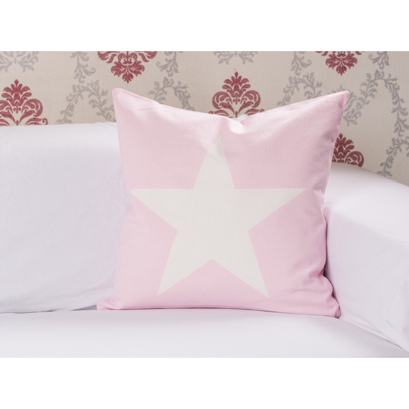 cushion cover big star pink kissenh lle in rosa mit wei em stern krasilnikoff. Black Bedroom Furniture Sets. Home Design Ideas
