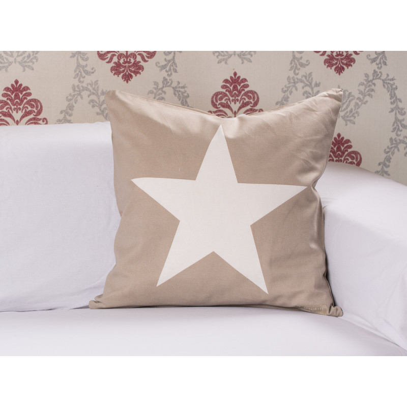 cushion cover big star taupe kissenh lle sand mit stern. Black Bedroom Furniture Sets. Home Design Ideas