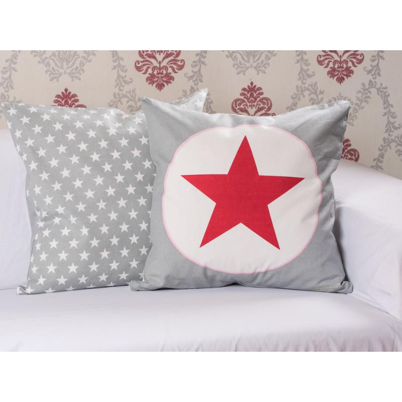 krasilnikoff kissenh lle stern grau rot wohnhaus welten. Black Bedroom Furniture Sets. Home Design Ideas