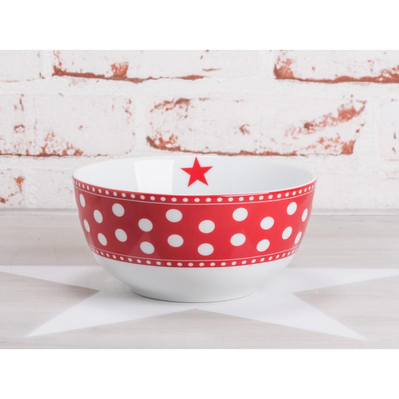 krasilnikoff happy bowl m slischale punkte rot wei e punkte auf rot ein roter stern auf wei. Black Bedroom Furniture Sets. Home Design Ideas