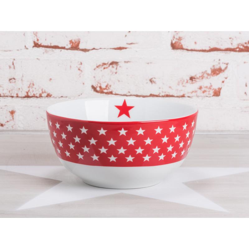 krasilnikoff happy bowl m slischale sterne rot wei e sterne auf rotem grund porzellan schale. Black Bedroom Furniture Sets. Home Design Ideas