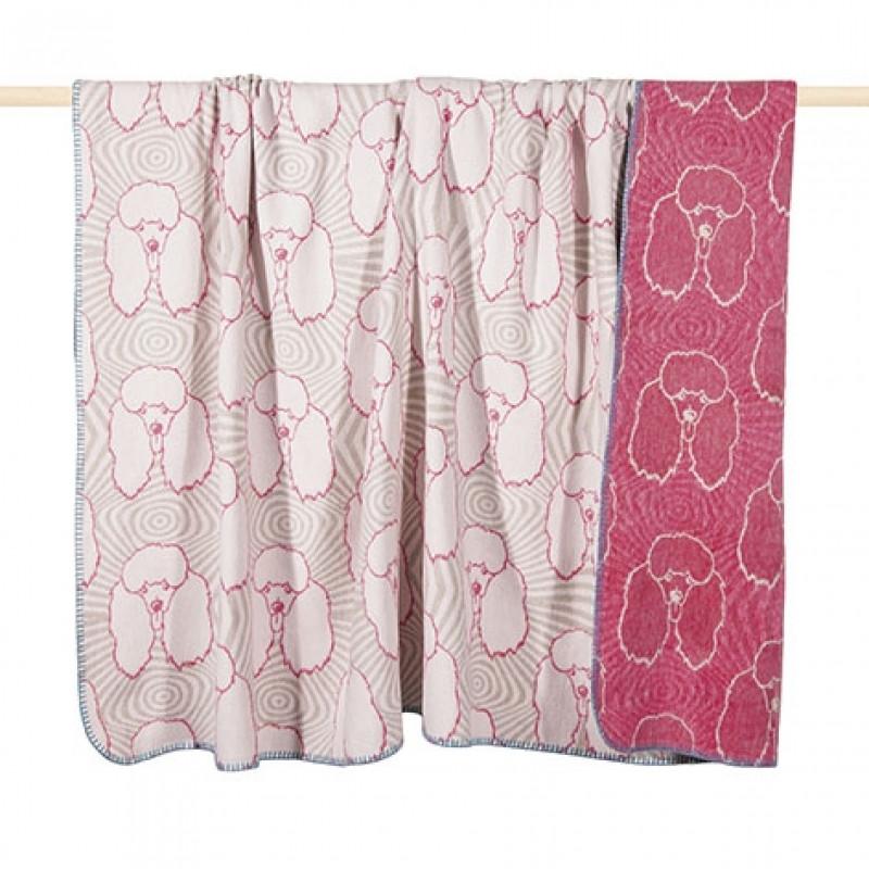 Decke Farbe Fuchsia: Wolldecke Pudel In Fuchsia/Weiß
