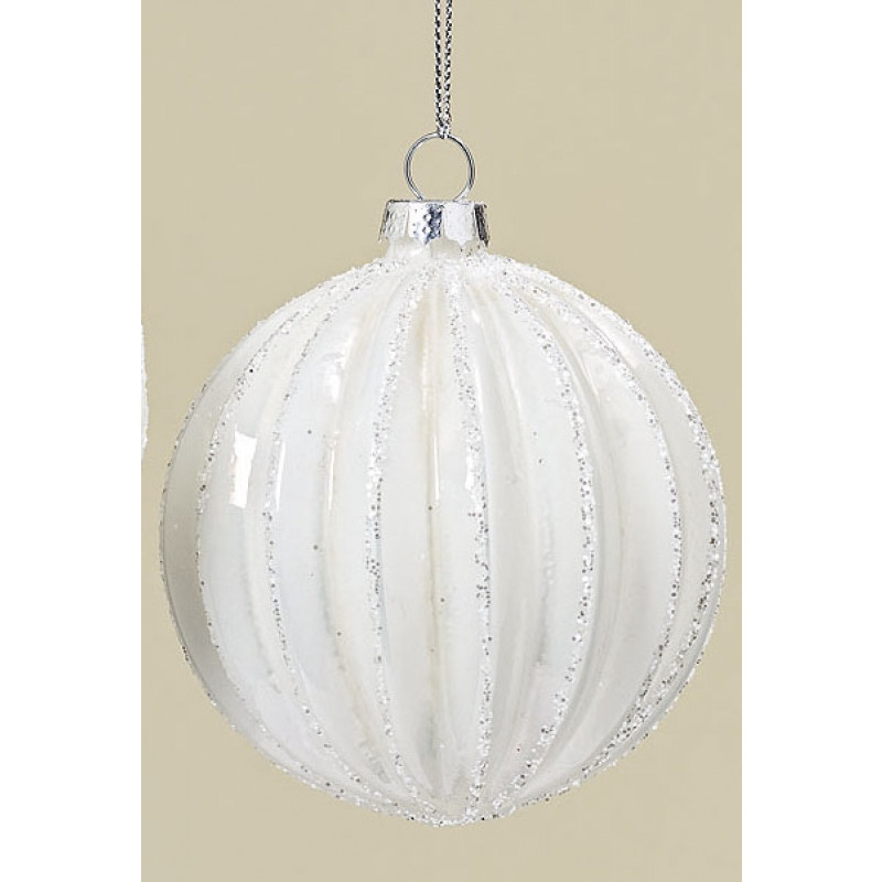 Weihnachtskugeln Weiß Silber.Weihnachtskugel Sarah Weiß Mit Vertikal Streifen