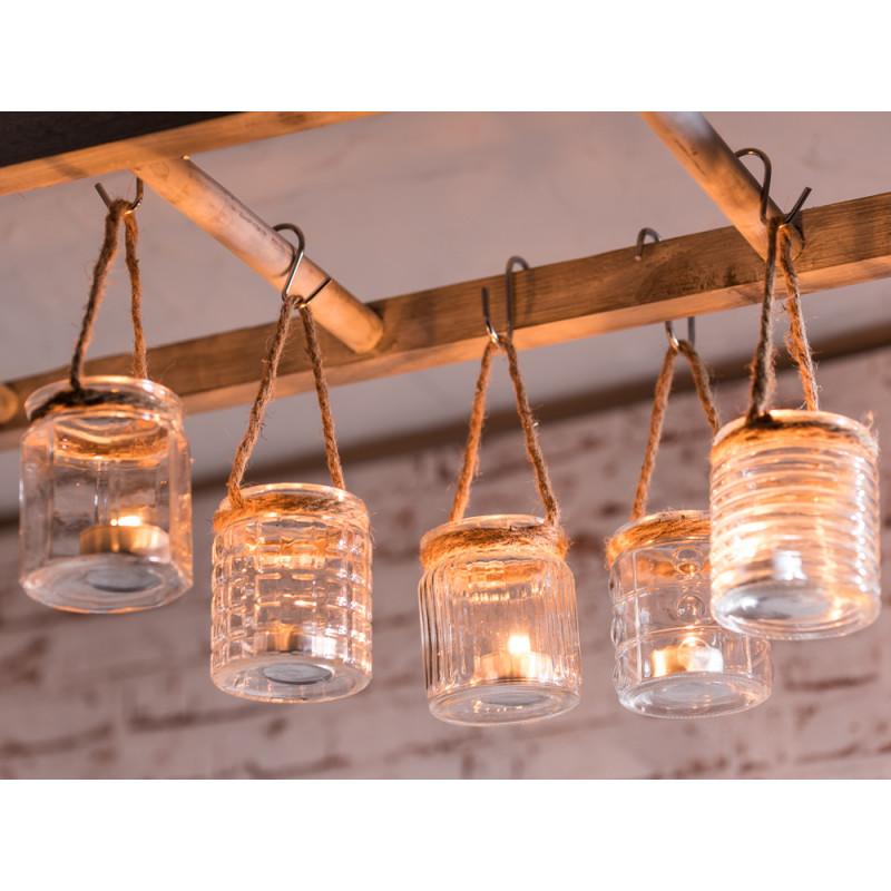 windlicht h nger wittd n 5er set f nf kleine windlichter aus glas mit kordel im maritimen look. Black Bedroom Furniture Sets. Home Design Ideas