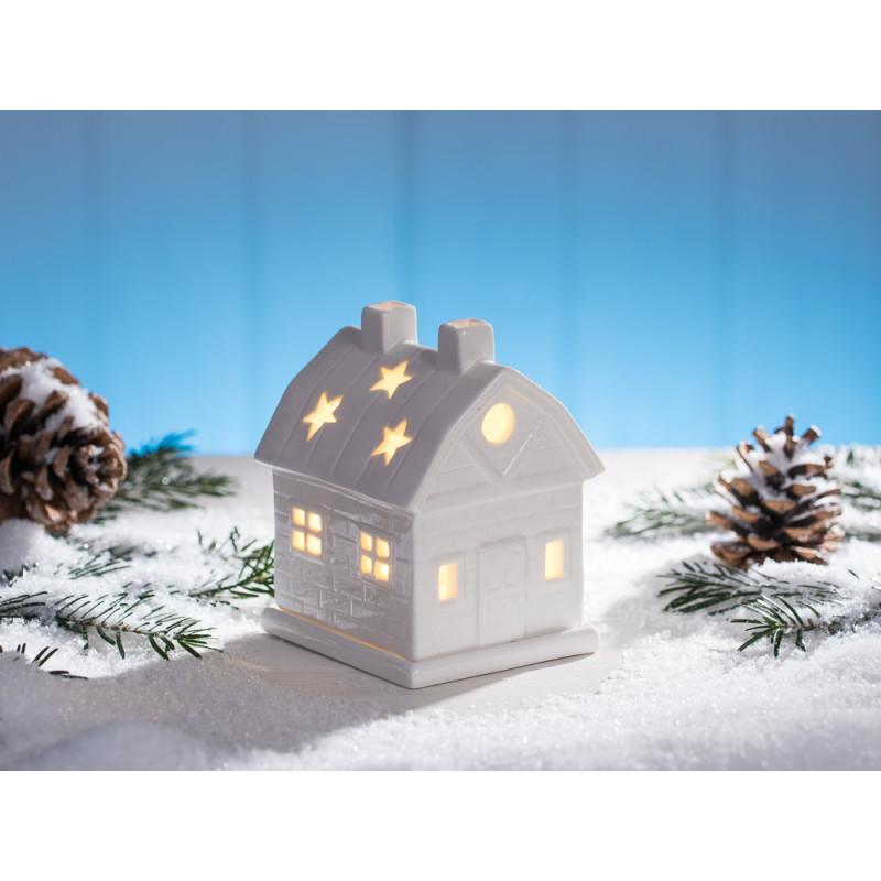 Windlicht Haus Mit Schornstein In Weiss Weihnachtsdeko