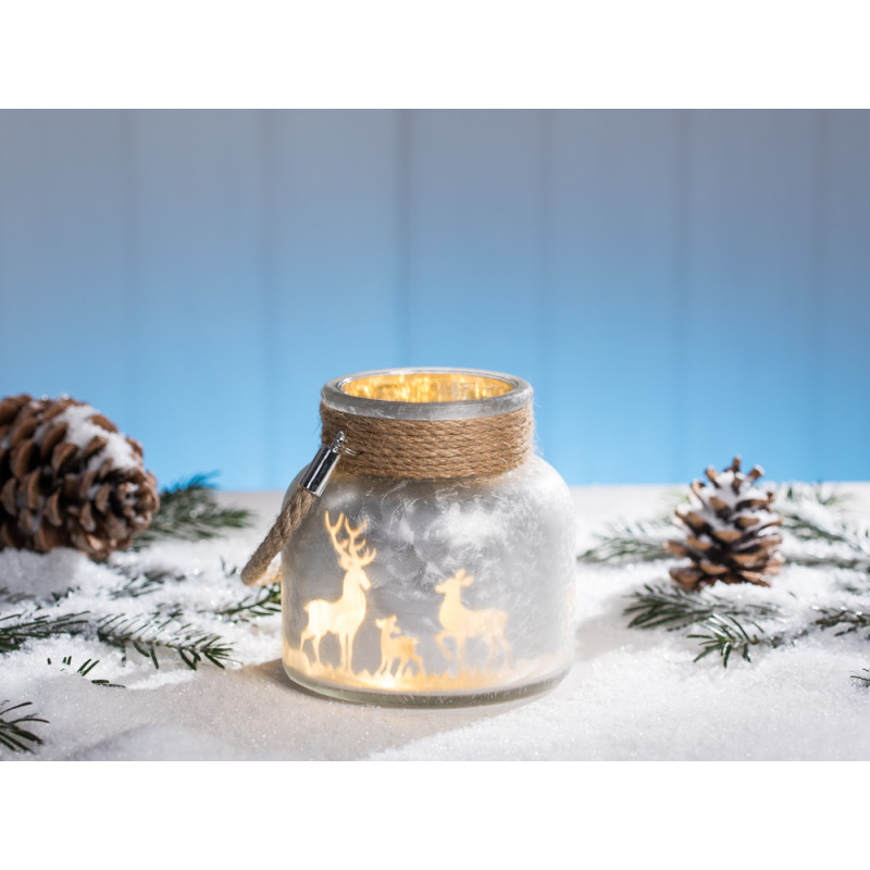 Windlicht Winterwald Silber Weiss Aus Glas Mit Hirsch Und Sternen