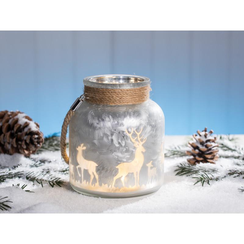 windlicht winterwald silber wei aus glas mit hirsch und sternen mit kordel h he 16 cm. Black Bedroom Furniture Sets. Home Design Ideas
