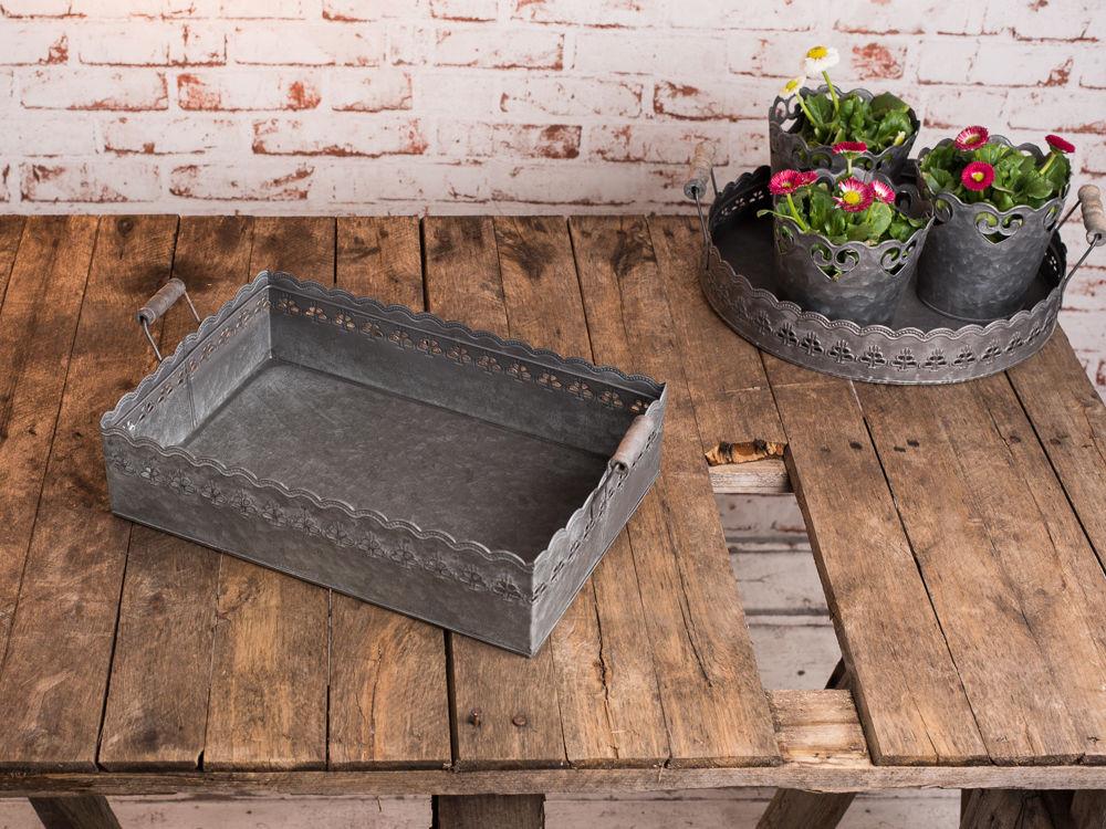 Deko tablett felini 39 cm zink metall grau vintage - Deko tablett metall ...
