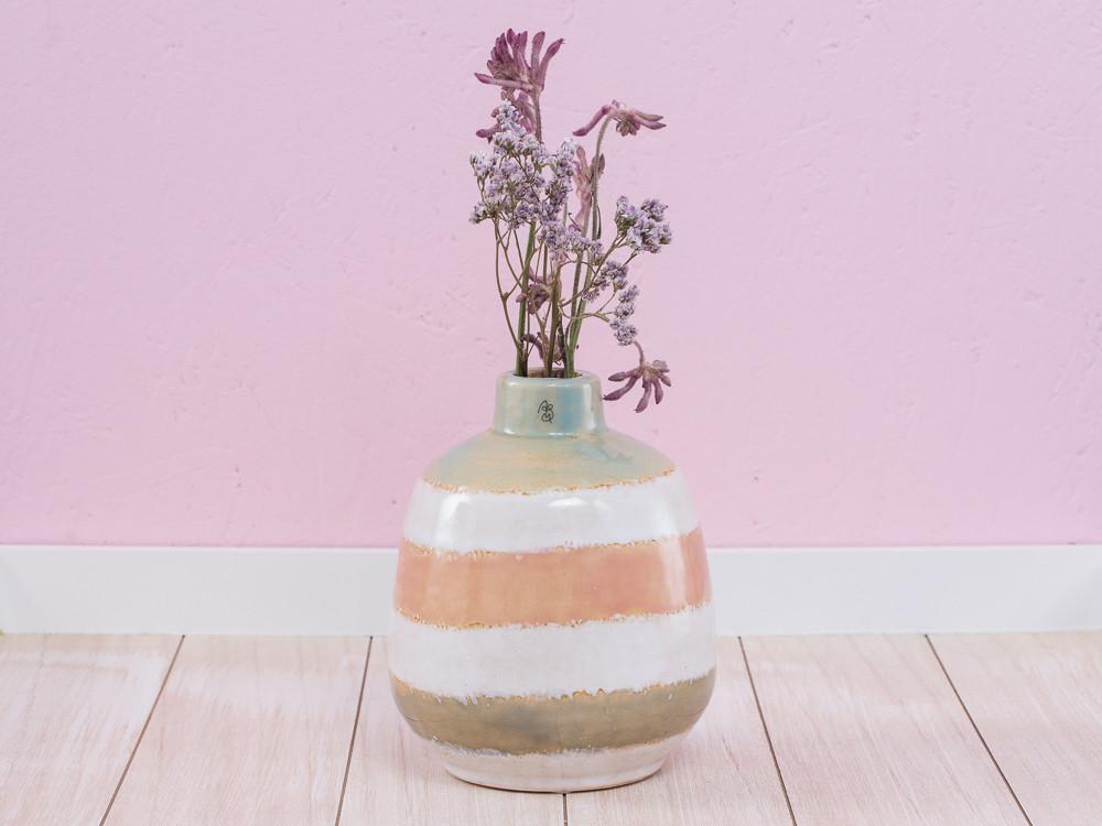 A Simple Mess Vase Cirkus Grün Weiß Orange Keramik Blumenvase 17 Cm Hoch  Design Louise Dorph