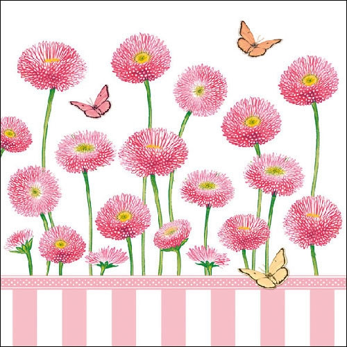 ambiente servietten bellis rose mit schmetterlingen und rosa bellis 20 st ck 33x33cm. Black Bedroom Furniture Sets. Home Design Ideas