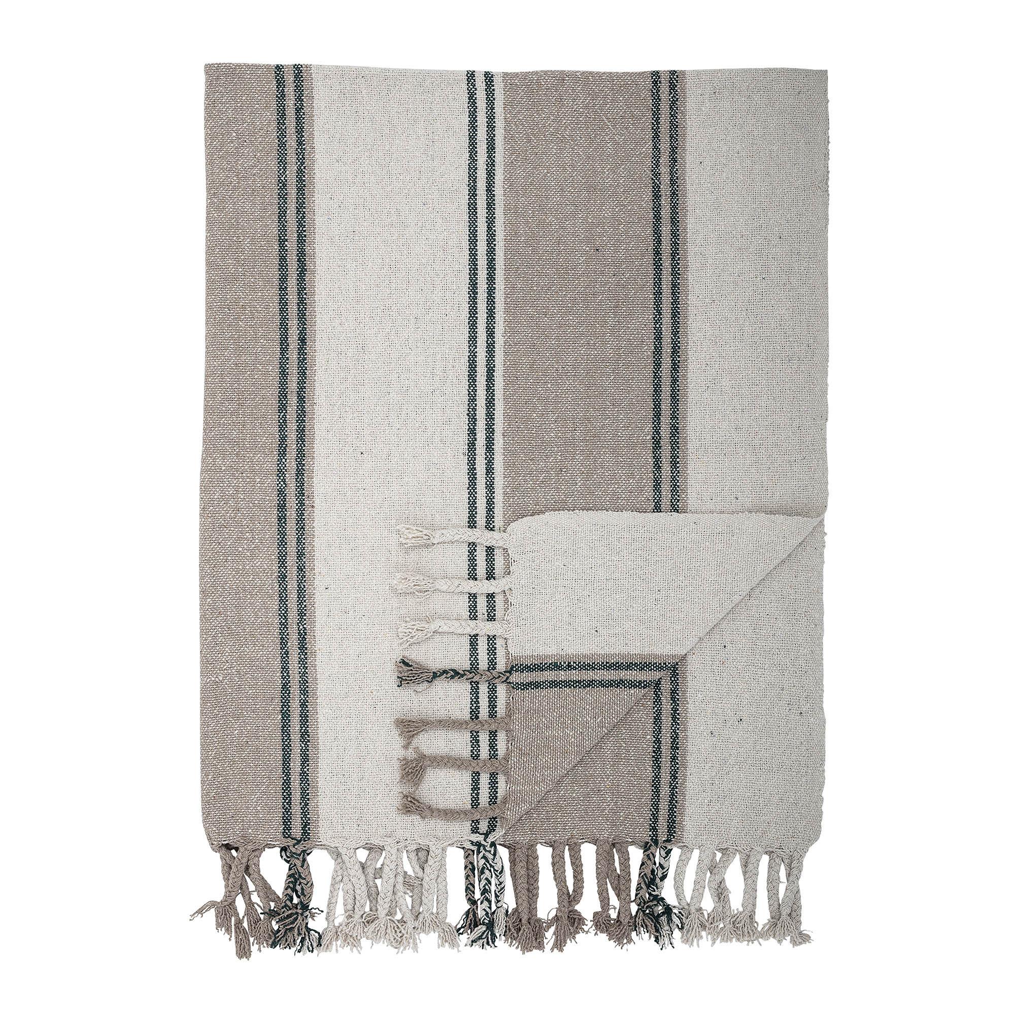 Ib Laursen Decke Plaid Creme mit grauen Blockstreifen