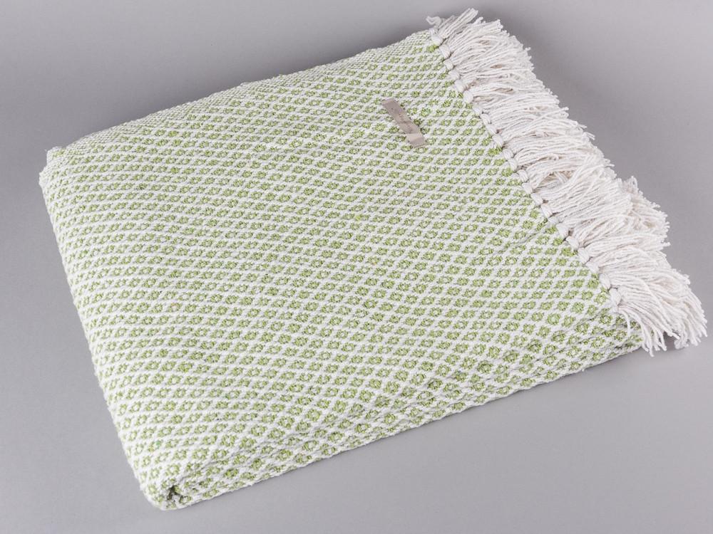 Bloomingville Decke Karo dunkelblau creme weiß Baumwolle Plaid Wolldecke Throw