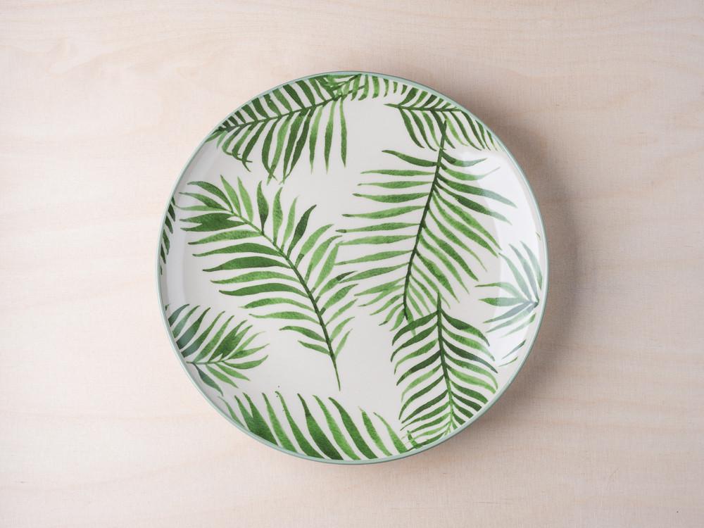 bloomingville jade kuchenteller mit palmenblatt keramik teller aus der jade geschirr. Black Bedroom Furniture Sets. Home Design Ideas