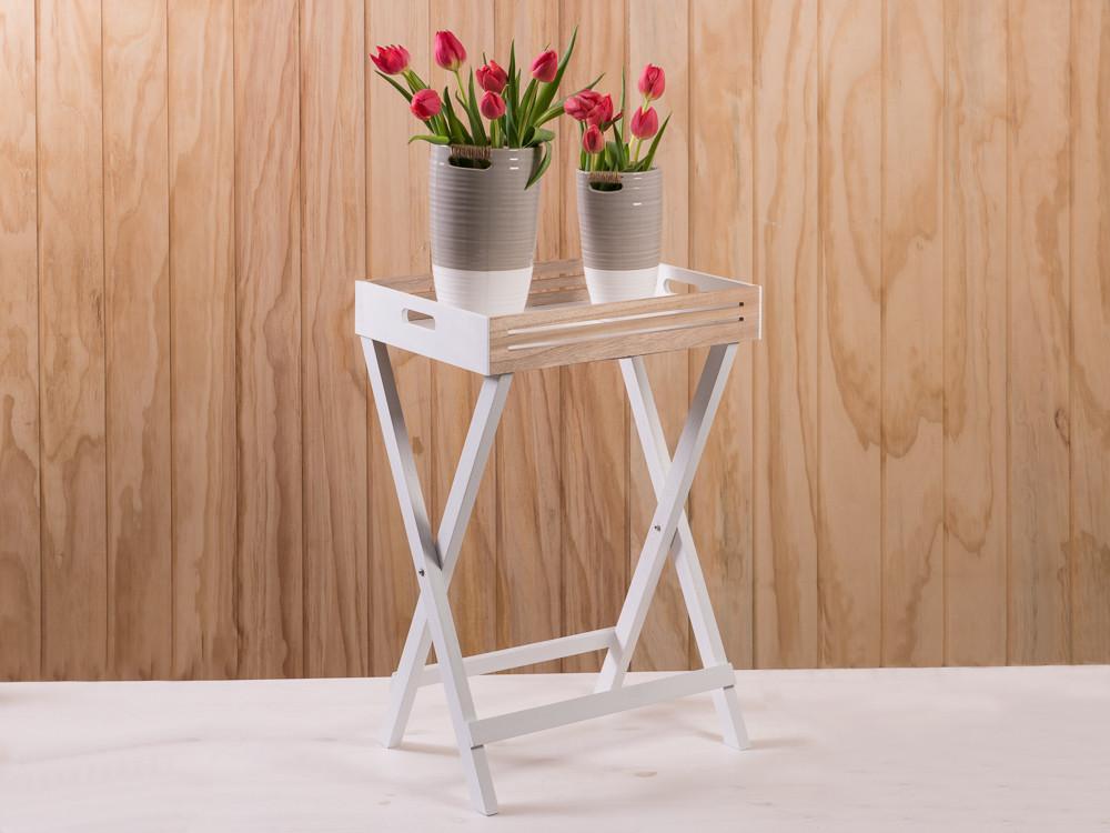 Tablett Tisch Scandinavia Aus Holz In Weiß Mit Naturholz, Höhe Ca. 60 Cm, Skandinavische  Deko