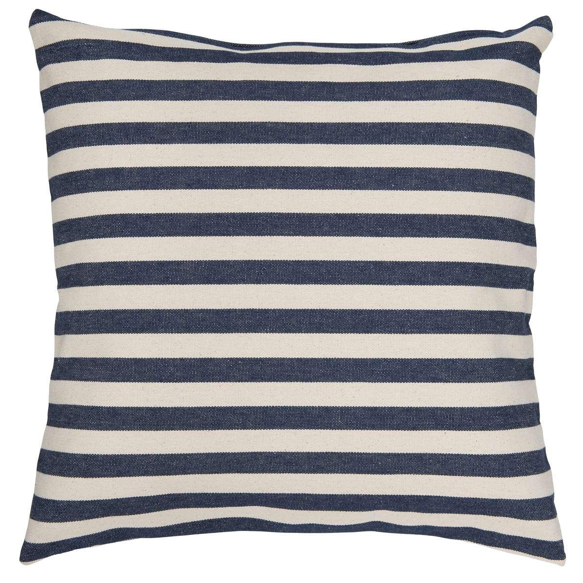 ib laursen kissenbezug streifen medium blau wei kissenh lle aus baumwolle gestreift in blau. Black Bedroom Furniture Sets. Home Design Ideas