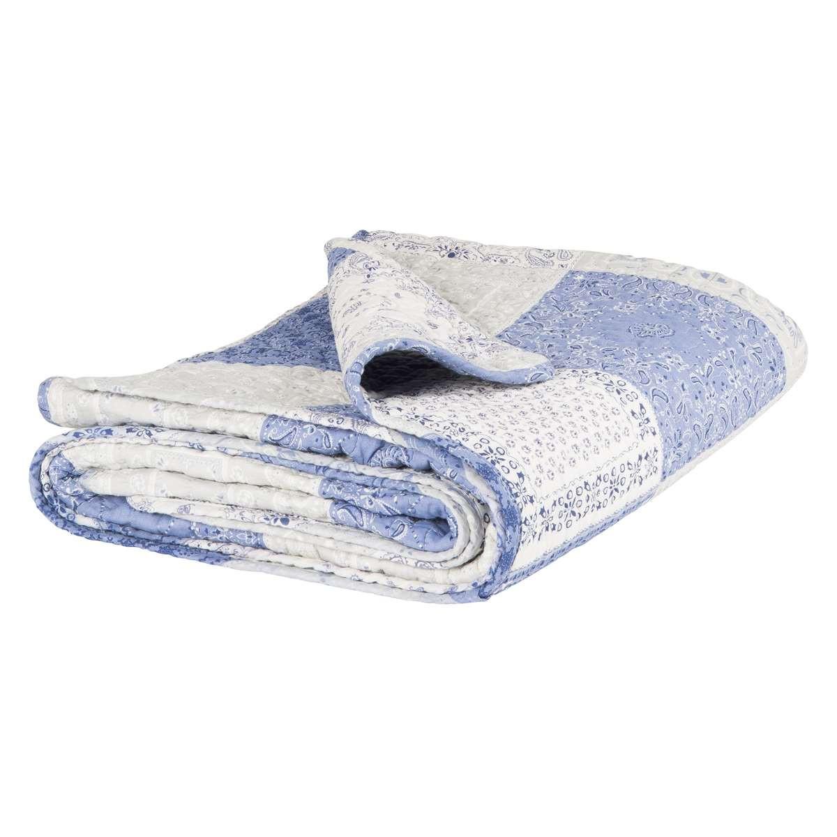 ib laursen quilt patchwork blau wei gedruckt tagesdecke aus baumwolle gr e ca 130 x 180 cm. Black Bedroom Furniture Sets. Home Design Ideas