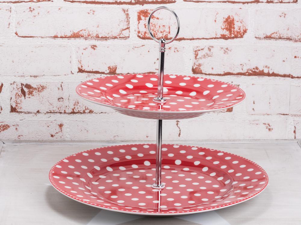 krasilnikoff etagere rot mit wei en punkten aus porzellan zwei etagen teller durchmesser 20 cm. Black Bedroom Furniture Sets. Home Design Ideas