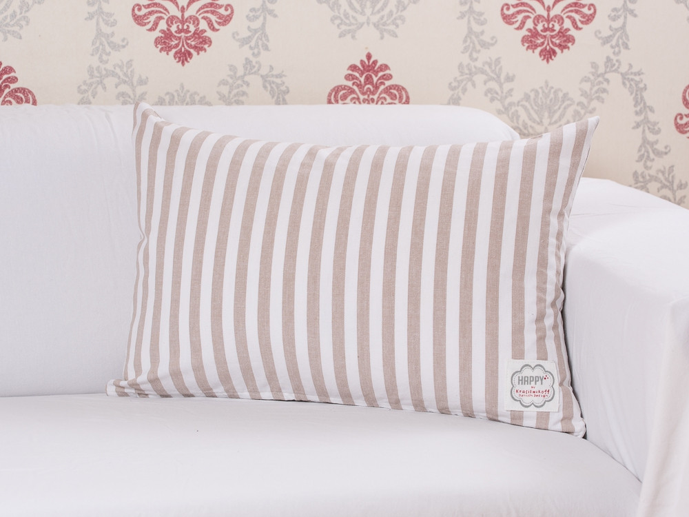krasilnikoff kissen streifen taupe wohnhaus welten. Black Bedroom Furniture Sets. Home Design Ideas