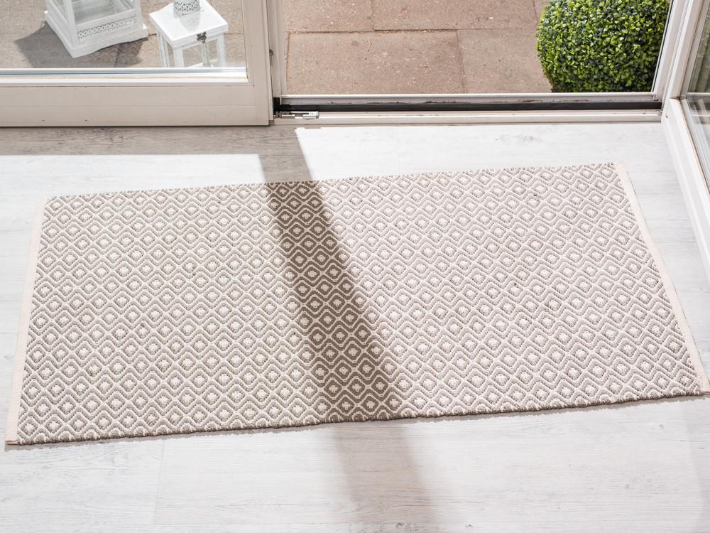 pad concept indoor und outdoor teppich akzent creme beige karo muster 72x132 cm robuster. Black Bedroom Furniture Sets. Home Design Ideas