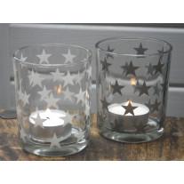 Teelichtglas Stern 2er Set