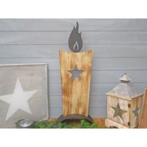 Holzständer Kerze mit Stern 74 cm