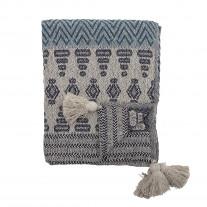 Bloomingville Decke Grau Blau Recycelt Baumwolle