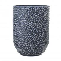 Bloomingville Vase Blau Punkte Keramik 20,5 cm