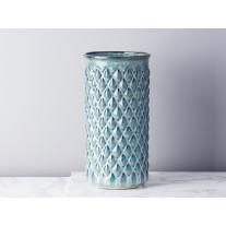 Bloomingville Vase Blau Karo Keramik 30 cm