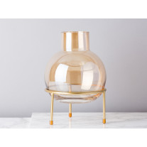 Bloomingville Vase Glas Braun auf Gold Ständer