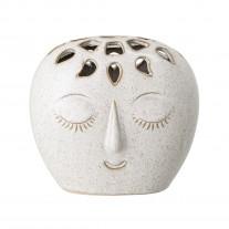 Bloomingville Vase Creme Weiß Oval mit Gesicht 14,5 cm