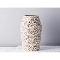 Bloomingville Vase rund mit Viereck Struktur 26 cm