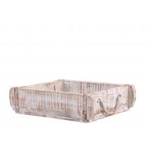 Chic Antique Ziegelform Kiste UNIKA Weiß mit Henkeln