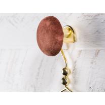 Cozy Living Kleiderhaken Helene Samt Mahagoni / Gold 6 cm