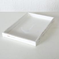 Deko Tablett Anker Holz weiß 30 cm