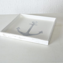 Deko Tablett Anker Holz weiß 48 cm