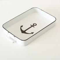 Deko Tablett Anker Metall eckig 44cm