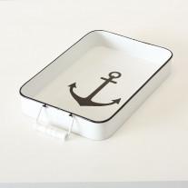 Deko Tablett Anker Metall eckig 39 cm