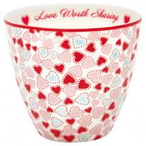 Greengate Latte Cup LOVE Weiß mit Herzen