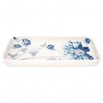Greengate Tablett Teller CHARLOTTE Weiß Blau Eckig