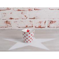 Krasilnikoff Espresso Tasse Sterne weiß / rot